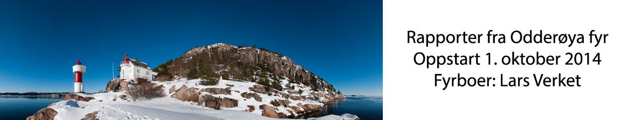 Headerbilde av Odderøya fyr i vinterdrakt